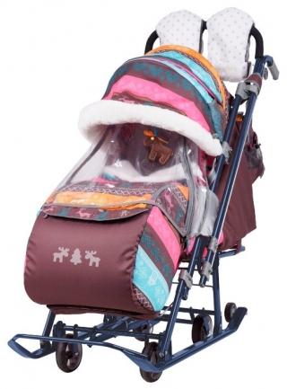 Санки-коляска Ника Детям 7 - 3 Скандинавский розовые
