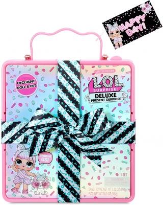 Большой набор L.O.L. Surprise Deluxe Present Surprise с куклой и питомцем, розовый 570691